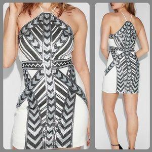 Express sequin Aztec halter dress
